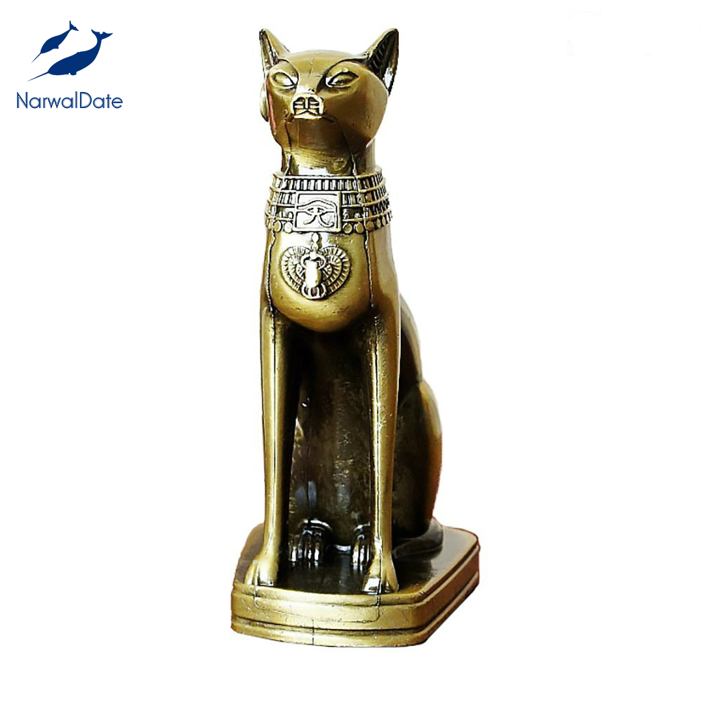 Handcraft Alloy Egyptian Cat Model Goddess Bastet Statue Desk Table Home Decoration Creative Gifts Bring Joy Wealth Dropshipping|Figurines & Miniatures| |  - title=