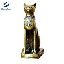 Handcraft Alloy Egyptian Cat Model Goddess Bastet Statue Desk Table Home Decoration Creative Gifts Bring Joy Wealth Dropshipping