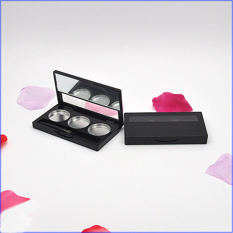 Empty Eye shadow Container 3 Grids Eyeshadow Palette Matte Black Lipstick Container Square Cosmetic Packing Box
