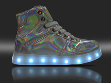 7 Changing Colors Laser Light Up Shoes For Kids Girls Boys Led Shoe Luminous Sneakers High Top Children Casual Flats Silver Gold