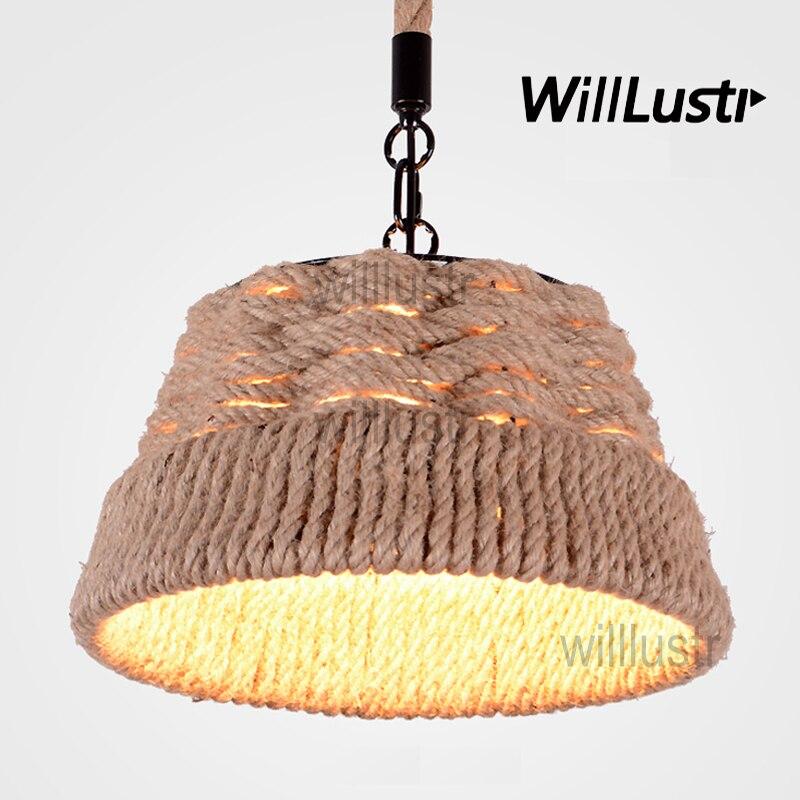 Willlustr hemp rope pendant lamp American country style suspension light loft Edison Bulb natural material hanging lighting