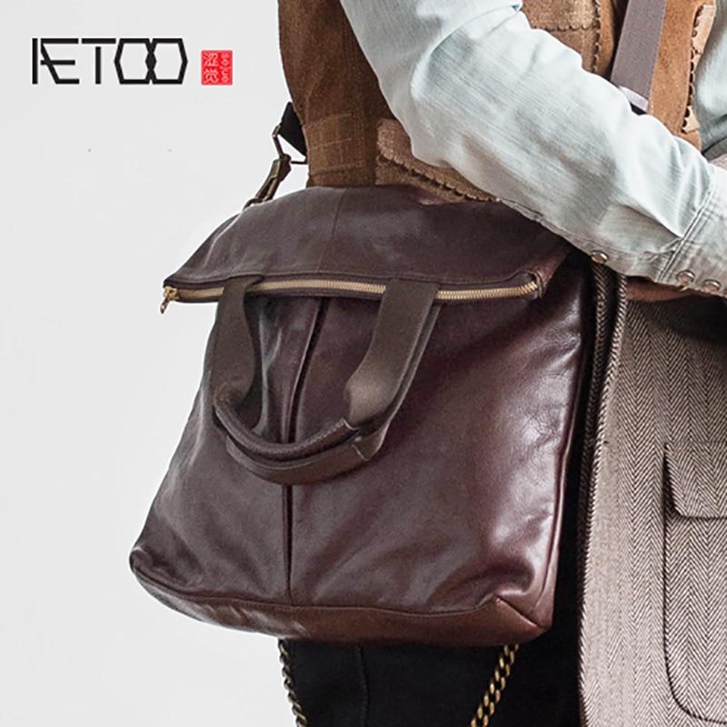 AETOO Head-layer cowhide folding crossbody bag male casual business handbag fashionAETOO Head-layer cowhide folding crossbody bag male casual business handbag fashion