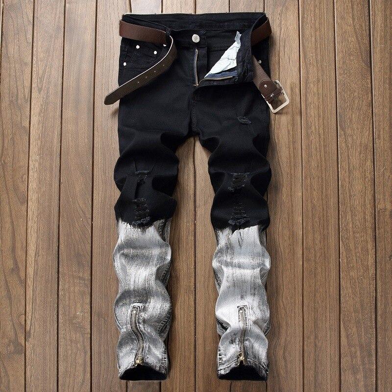 Stretchy Ripped Skinny Jeans Motociclista dos homens Gravado Slim Fit Calças Jeans Destruído