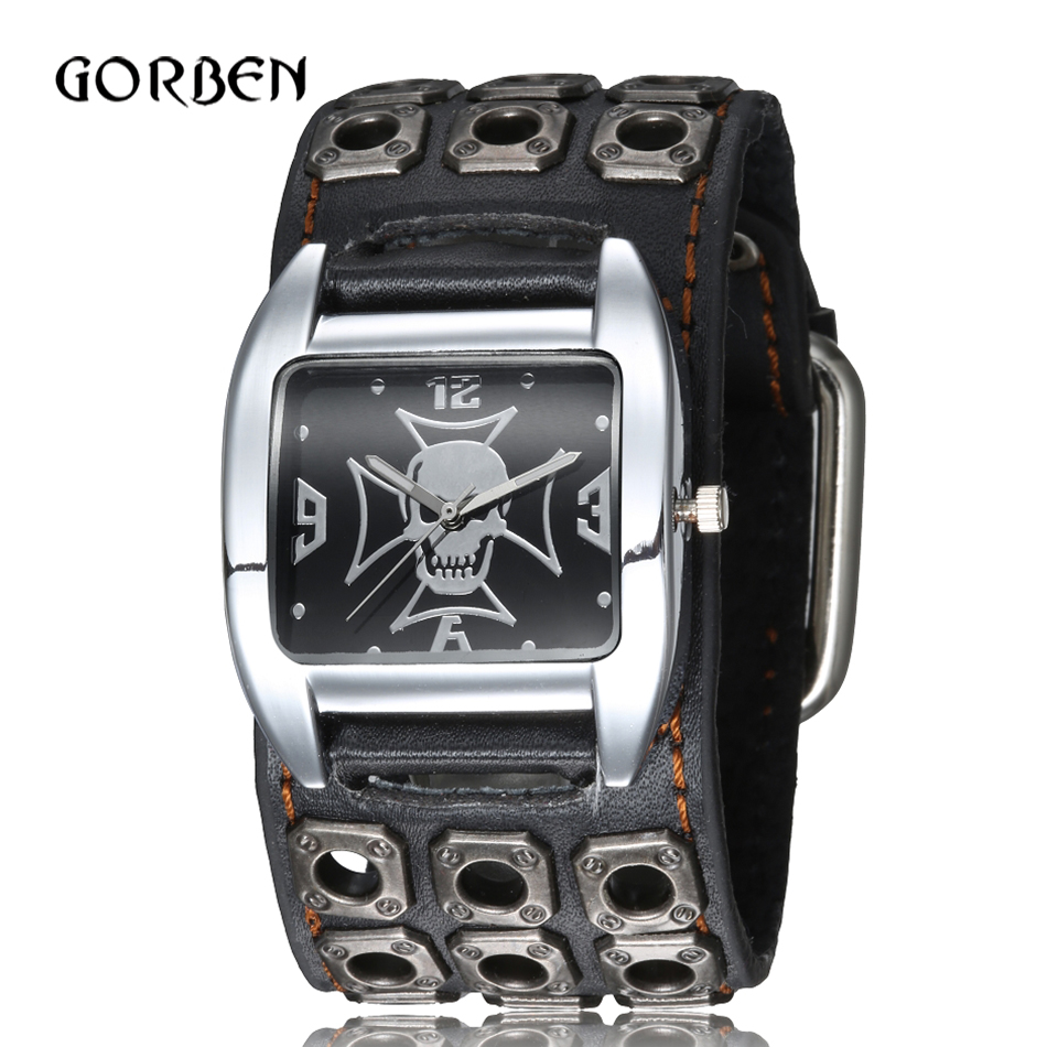 Punk Gothic Style Rock Mens Wrist Watch Leather Strap Skull Quartz Sports Mens Bracelet Watches Gifts Relogio Masculino