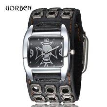 Панк готический Стиль рок мужские наручные часы кожаный ремешок Череп кварцевые спортивные мужские браслет Часы подарки Relogio Masculino