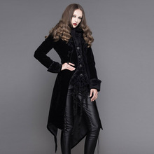 Steampunk Winter Women Dress Coat Gothic Punk Black Wine Red Polyester Palace Slim Fit Long Coat High Collar Stage Coat