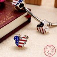 AZIZ BEKKAOUI Enamel USA Flag Mickey Charms Fit For Pandora Bracelets Authentic 925 Sterling Silver Mickey