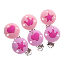 10pc Silikon Runde Sterne Crown Beißring Clips BPA FREI Baby Schnuller Kette Halter Schnuller Zahnen Pflege Kauen Schmuck Verschlüsse