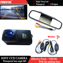 FUWAYDA Wireless Car RearView Camera for Peugeot 206 207 306 307 308 406 407 5008 Partner Tepee+4.3 Inch rearview Mirror Monitor