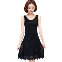M 4XL plus size full slip women 2017 spring and summer modal sleeveless medium long tank top dress lim lace slip