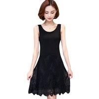 M 4XL plus size full slip women 2017 spring and summer modal sleeveless medium long tank top dress lim lace slip