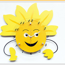 Geekcook Cartoon Cottage Sun Flower Wall Clock Creative Pastoral Simple Wall Clock Children Bedroom Decoration Quiet Clock