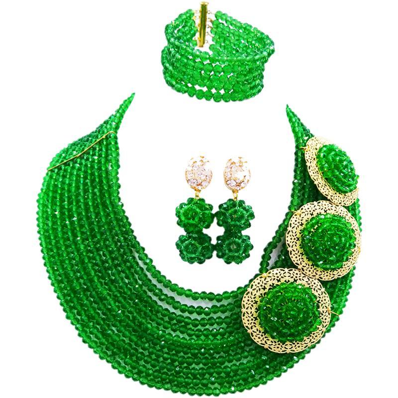 Merveilleux cristal vert classique collier africain ensembles de bijoux pour les femmes fiançailles 10C-C3PH-06