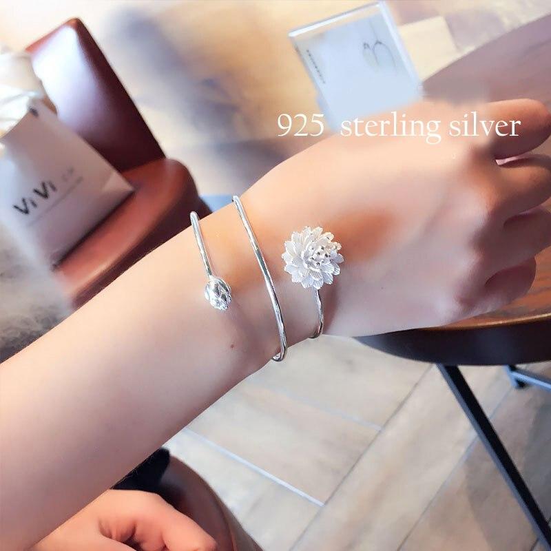 XIYANIKE 925 Sterling Silver Lotus Flower Bracelet For Women Silver Color Flower Bracelets For Girls Wedding New Arrival VBS4151