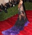 Lujo Crew opacidad tul de manga larga bordado de la sirena con la pluma púrpura Beyonce celebridad viste 2014 vestido de noche
