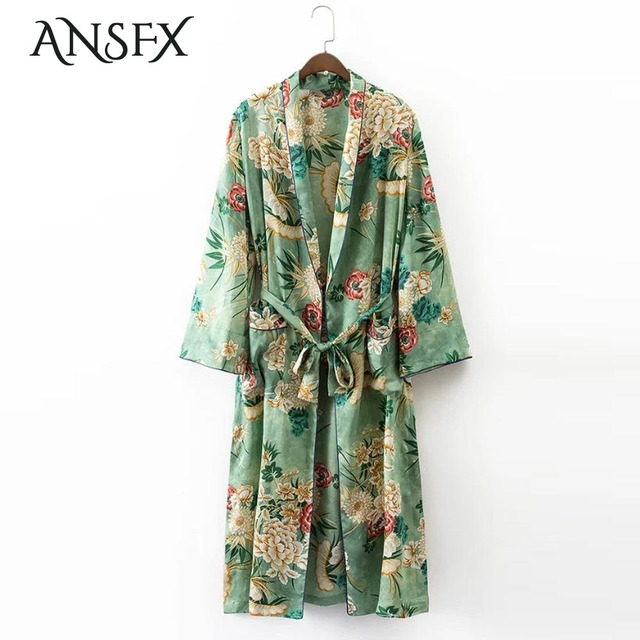 cb3068f7442 ANSFX Vintage Green Ethnic Floral Long Kimono Cardigan Jacket Sashes Two  Pockets Shawl Side Split Hem Outerwear Women Top Coats