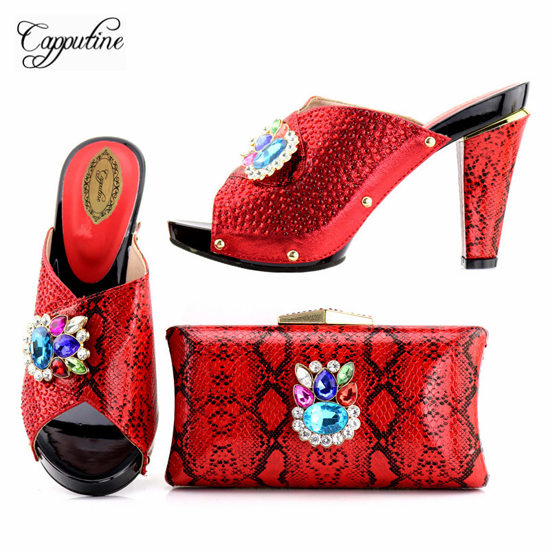Capputine 2018 Hot Selling Italian Shoes With Matching Bag Set Fashion Decorated With Rhinestone African Party Shoes And Bag Set cd158 1 free shipping hot sale fashion design shoes and matching bag with glitter item in black