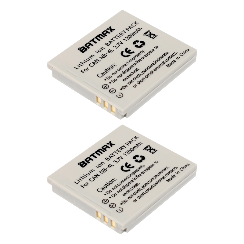 High-Capacity 1200mAh  NB-4L Batteries for Canon PowerShot SD1000 SD1100IS SD1400IS SD200 SD30 SD300 SD400 SD430 SD600 (2-Pack)