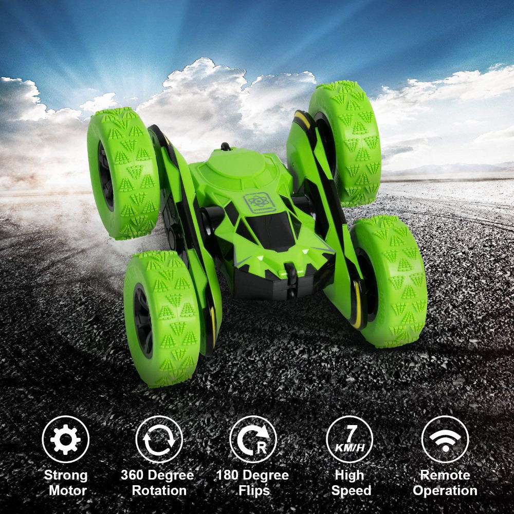 1/28 Scale Remote Control Stunt Cars 2.4GHZ Off-Road RC Cars Cool Flashing 3D Flip Green 360 Rotation RC Toys For Children Gift