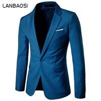 LANBAOSI Mens Blazer Jacket Solid Slim Fit Social Dress Suit Jacket Men One Button Wedding Best