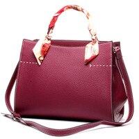 Famous Brand Genuine Leather Bags For Women Durable Tote Bags Ladies Business Handbag Ribbons Shoulder Bag