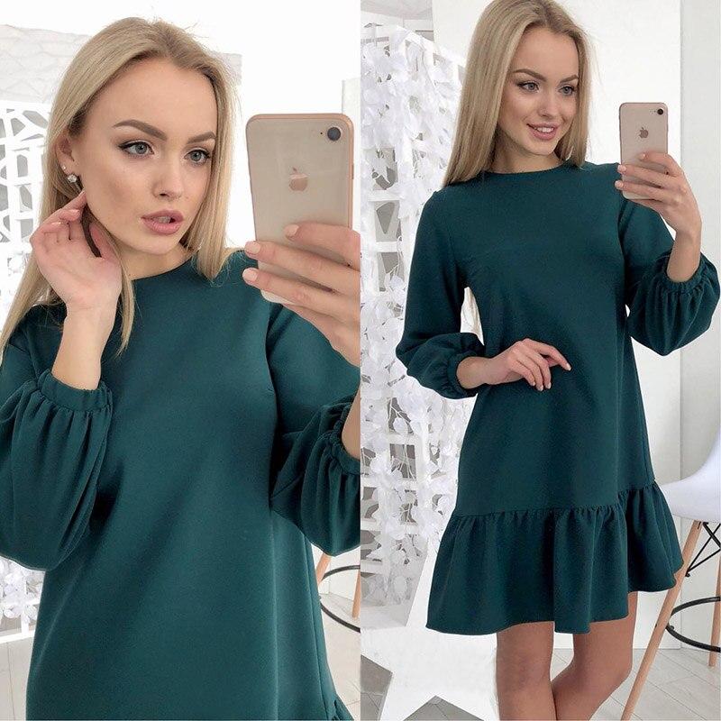 Fest Farbe Rand Geraffte Drei Viertel Herbst Kleid Frauen 2018 Laterne Hülse Rüschen Oansatz Beiläufige Lose Kleid Mini Vestidos