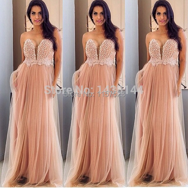 New Arrival Floor Length Sweetheart Appliques Strapless Peach Prom ...