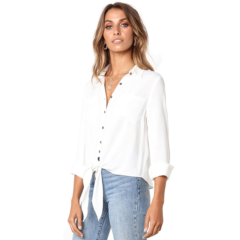 ADEWEL 2019 Fashion Sexy Women Blouse Solid Crushed Linen Cotton Bowkot Button Down Tops Female Casual Shirt in Blouses amp Shirts from Women 39 s Clothing