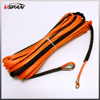 Orange Synthetic Winch Rope Cable Line With Hook 4.8MM*15M 5500lbs ATV Winch Line Towing Rope UTV Winch Parts Offroad Accessorie