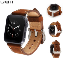 LPWHH Vintage Watchband Leather Strap For Watches Brown Black Genuine  Apple Watch Band 38mm 42mm Soft Iwatch