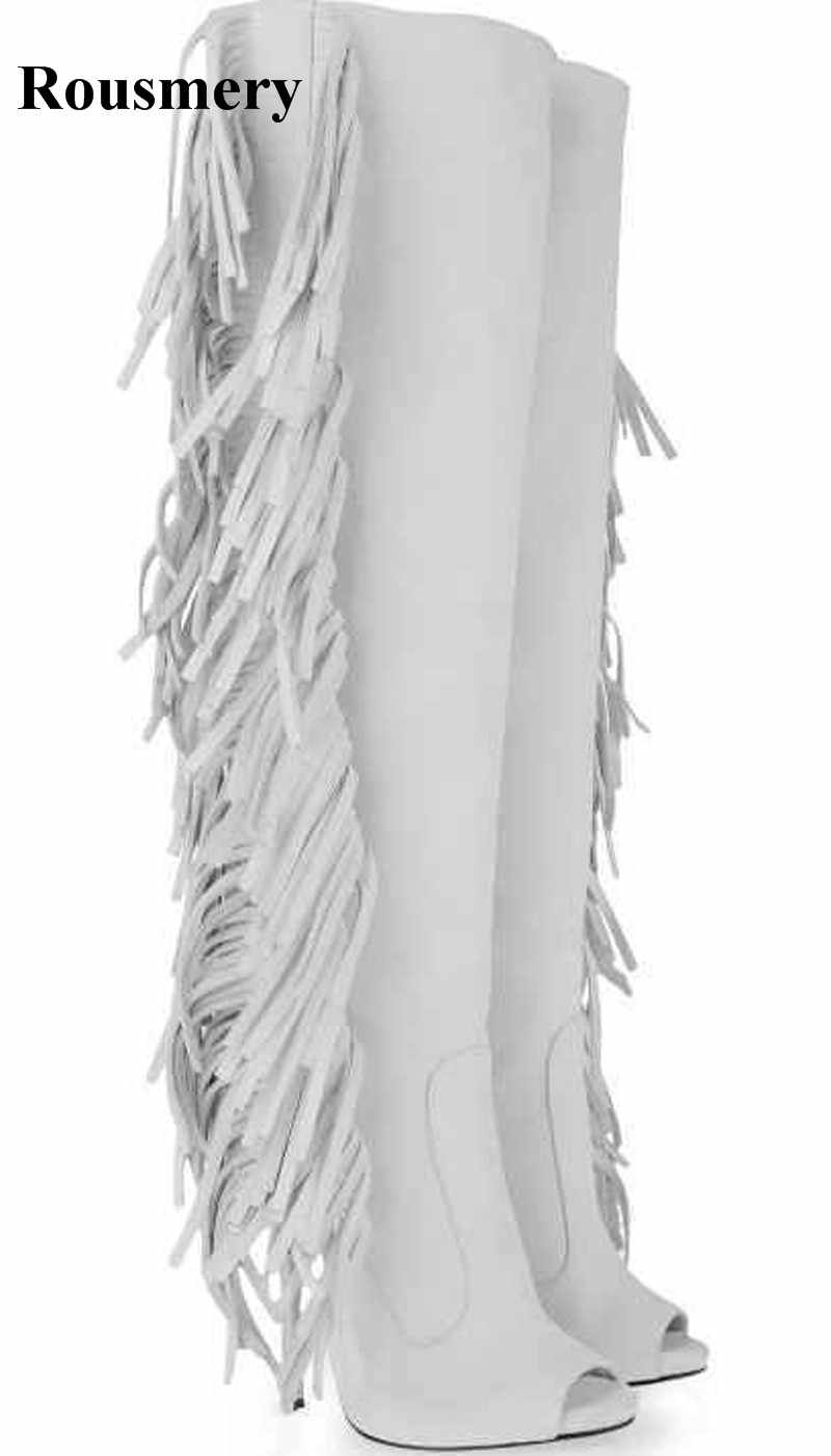 Women Sexy White Suede Leather Knee