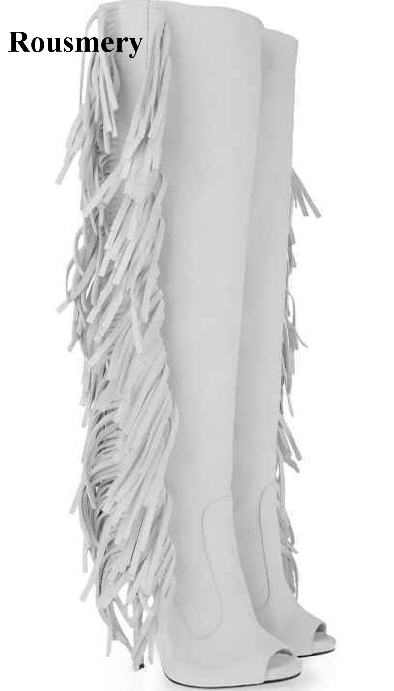 Women Sexy White Suede Leather Knee High Tassels Gladiator Boots Open Toe Long High Heel Wings Fringes Boots Dress Shoes high quality women fashion round toe knee high tassels thick heel boots newest sexy long fringes high heel boots