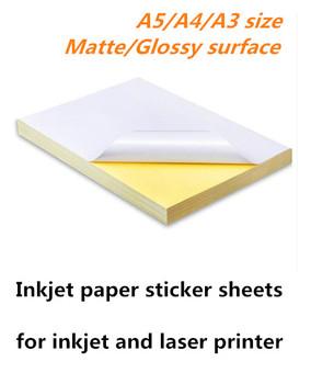 Samoprzylepne papier do drukowania puste pisania klej A4 błyszczący matowy do cięcia etykiety atramentowej LASER druk naklejki tanie i dobre opinie Papier fotograficzny inkjet printer and laser printer glossy matte surface carton package single side printable A4 A3 A5