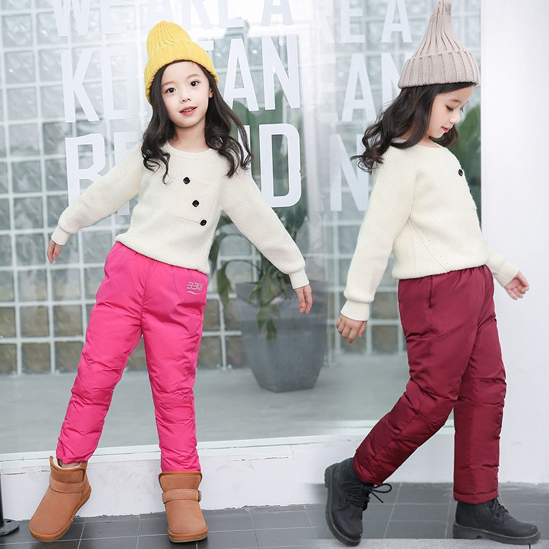 COOTELILI Cotton Girl Boy Winter Pants Cotton Padded Thick Warm Trousers Waterproof Ski Pants Baby Girls Pants Children Clothing (9)