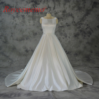 Vestido De Noiva Satin Wedding Dress With Pocket Classic Wedding Gown Custom Made Factory Wholesale Price