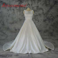 Vestido de Noiva satin wedding dress with pocket classic wedding gown custom made factory wholesale price