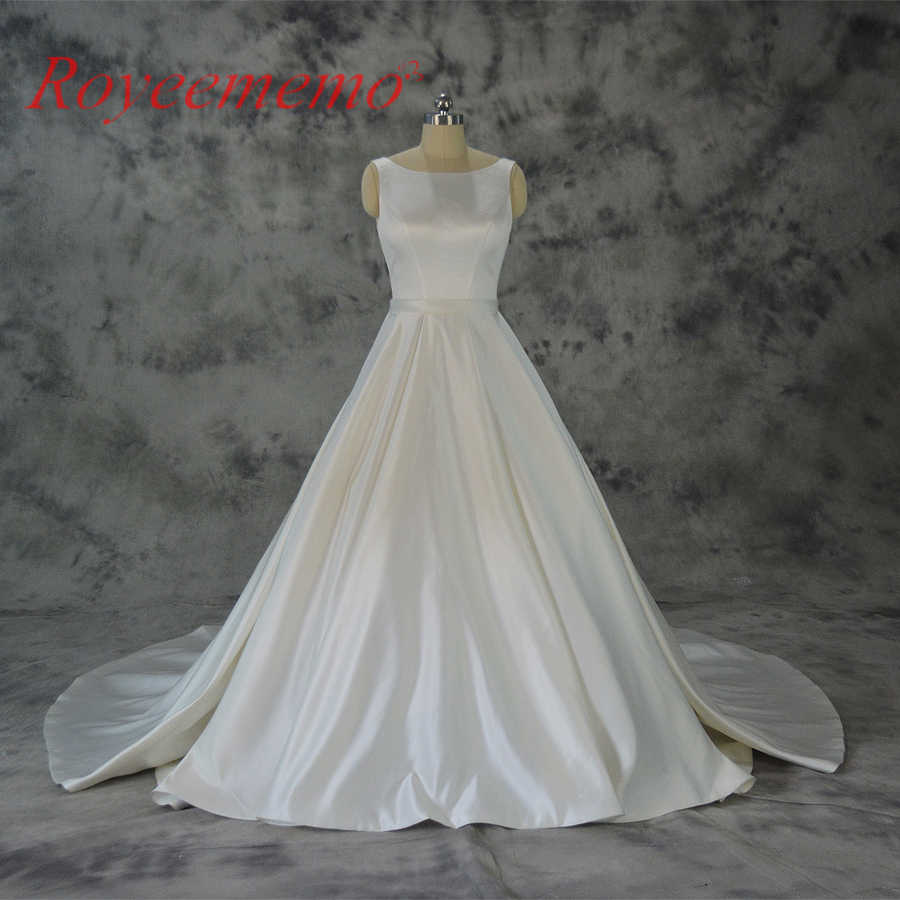 0ea1d8fc61d Vestido de Noiva satin wedding dress with pocket classic wedding gown  custom made factory wholesale price