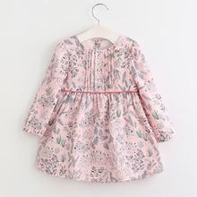 VORO BEVE 2017 nouveau printemps fille vêtements enfants robe imprimé robe pour fille enfants vêtements bouton enfants robes