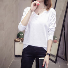 5 Solid Color V Neck Basic Tshirt Long Sleeve Autumn All-match Cotton White Top Femme Simple Chic Loose Womens T-shirt Black