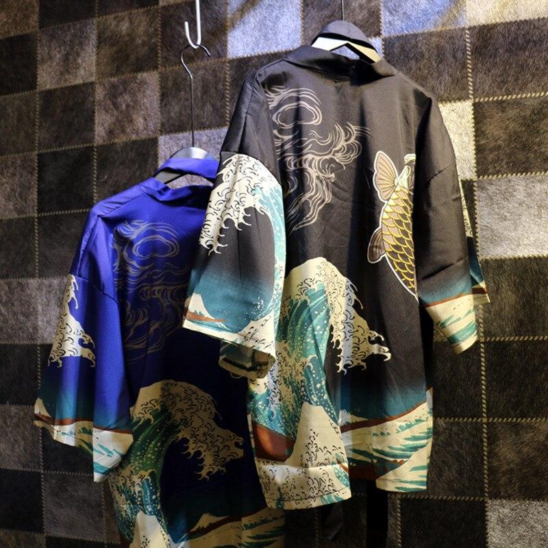 Vintage japanese harajuku estilo olas y peces sun protection cardigan kimono blu
