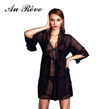 Au Reve Women Sexy Transparent Chiffon Sleep Underwear Lace Erotic Lingerie Female Bathrobe Costumes Net Yarn Dress with Ribbon