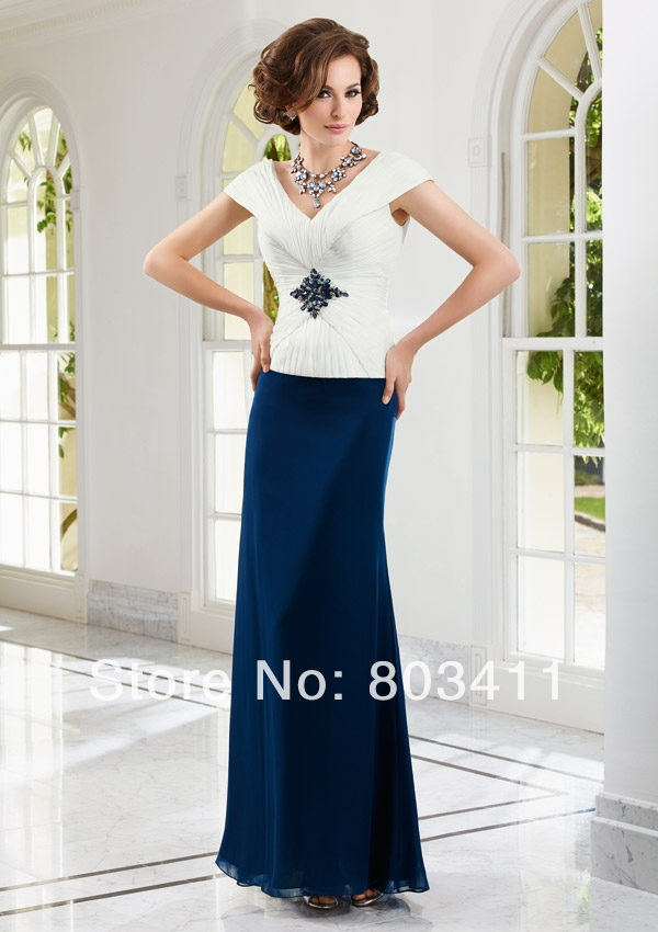 Cap Sleeves Beach Gown Portait Neckline Mother of the Bride Dresses image