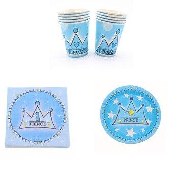 40 Uds. Juego de vajilla desechable para bebé 1th cumpleaños decoración de fiesta de Príncipe plato de servilleta para niños suministros de fiesta Baby Shower azul