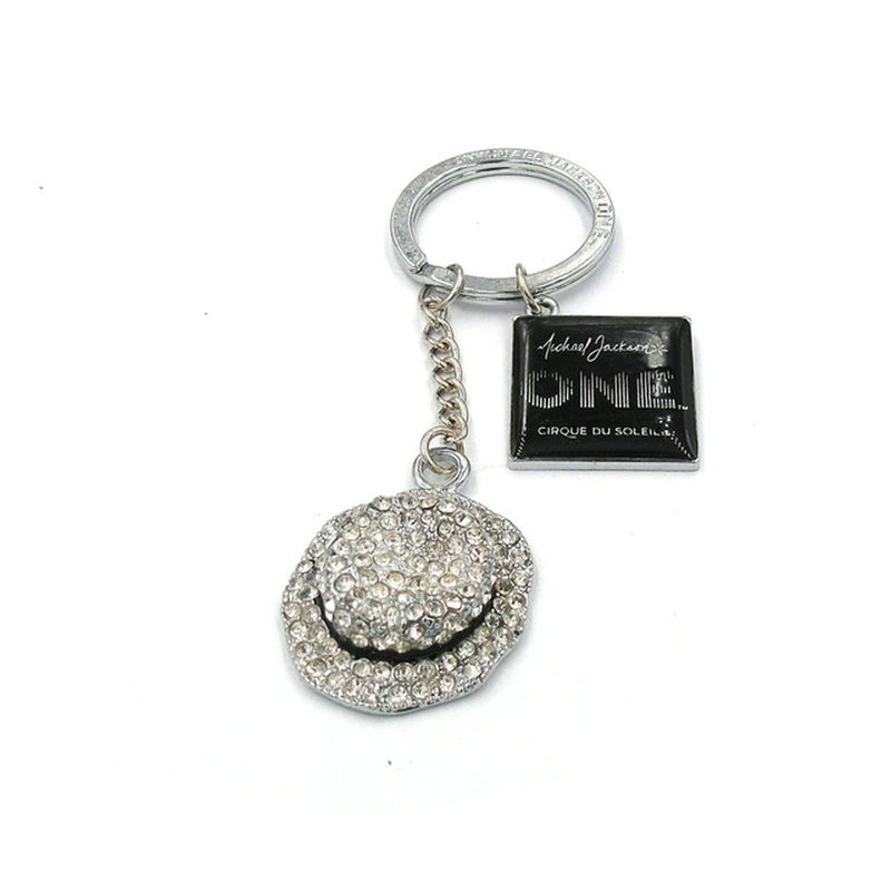 Personalized Keychain Commemorate King of Pop Michael Jackson MJ Hat with crystal and Logo Stereo Metal keychain fashion jewerly
