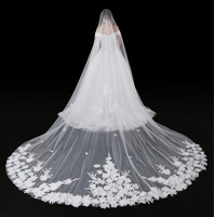 2018 Cathedral Veil For Wedding Dress Bridal Gown 3D Flowers Soft Tulle White Ivory Tulle One Layer With Comb 5 Meters In Stock