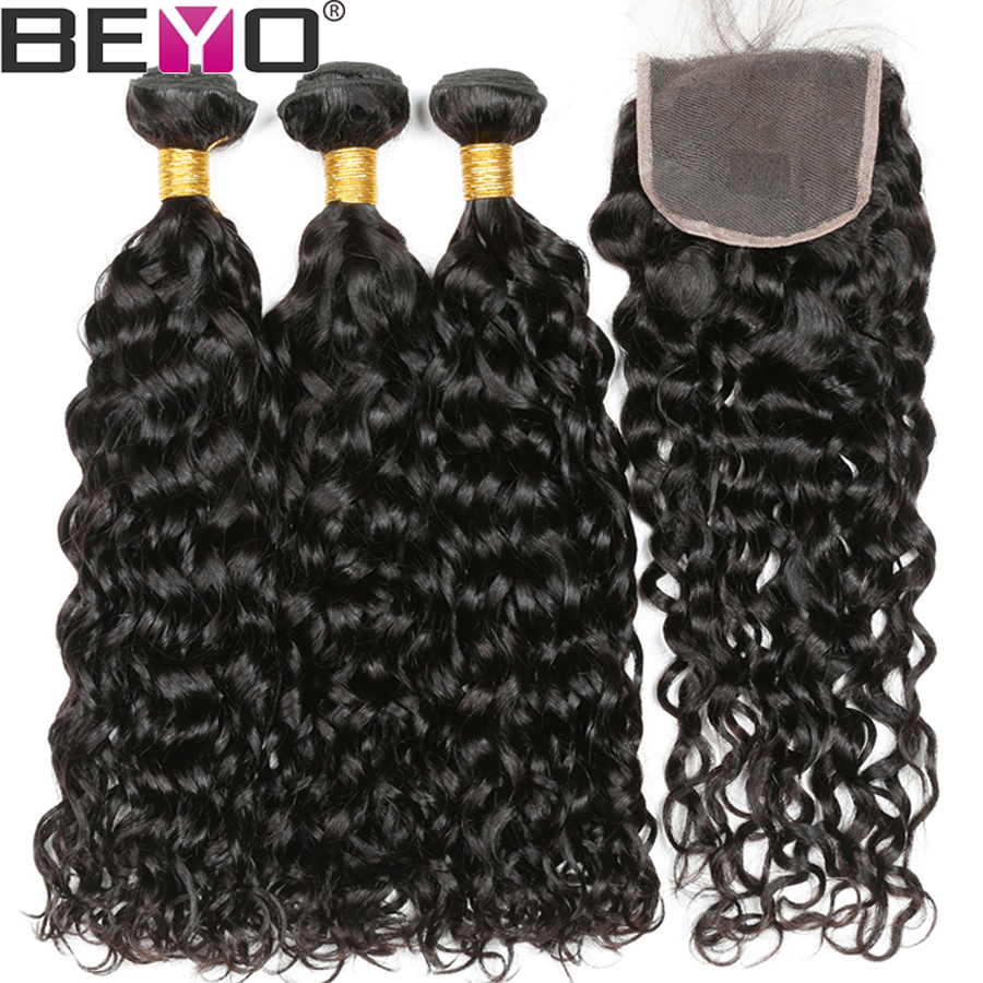 Water Wave Bundles With Closure Brazilian Hair Weave Bundles With Closure 4Pcs Human Hair Bundles With