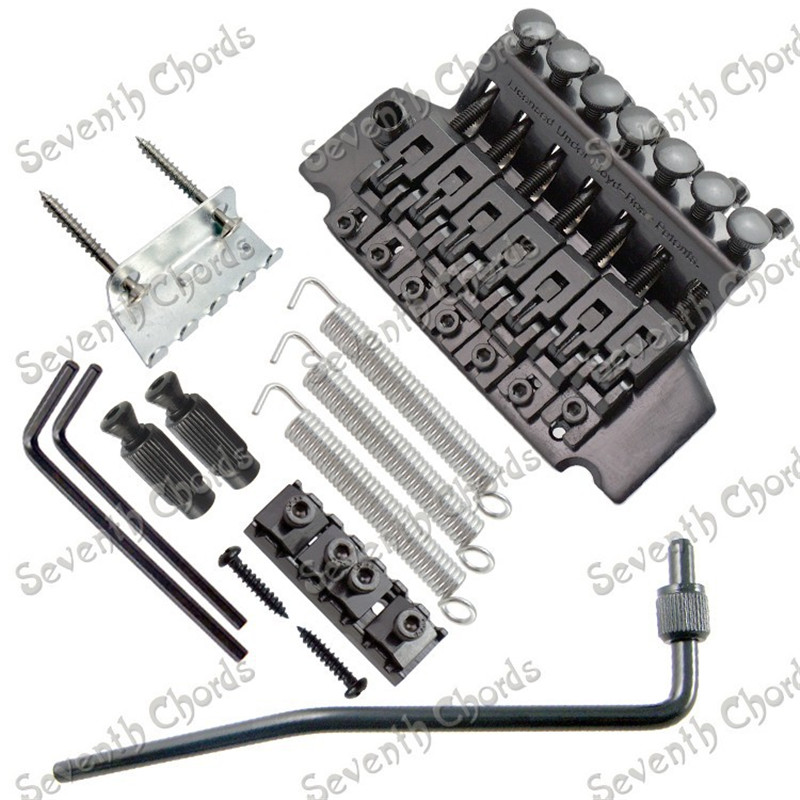 A set Black 7 String Tremolo Bridge Double Locking Systyem for Electric Guitar GUITAR PARTS black kahler tremolo kahler usa hybrid 4300 6 string tremolo kahler tremolo