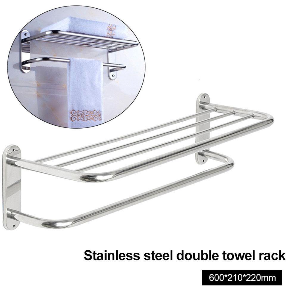 Bathroom Wall Mounted Towel Rack Rail Holder Storage Shelf Hotel Stainless Steel