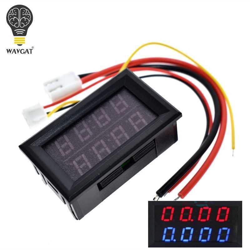 WAVGAT 0.28 pouce voltmètre numérique DC ampèremètre 4 bits 5 fils DC 200 V 10A tension compteur de courant alimentation rouge bleu double affichage