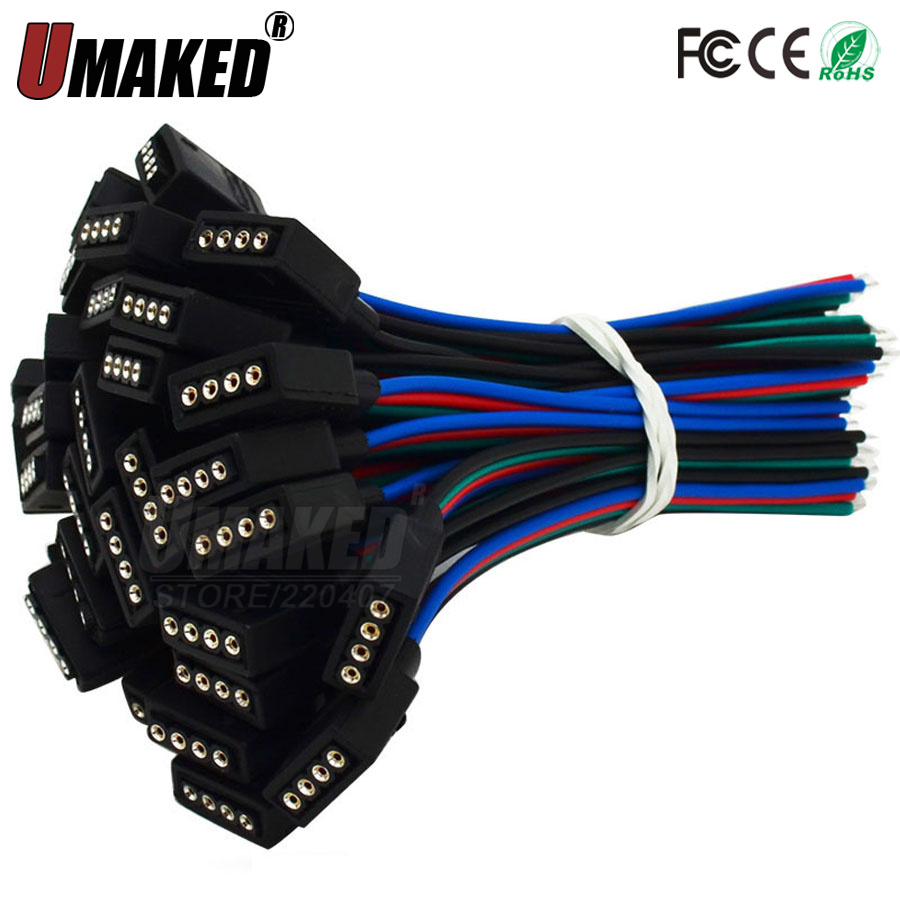 10pcs 4Pin 4 Pins/head Male To Female Plug/Wire Quick Connector For RGB LED Strip, 4pin Connector